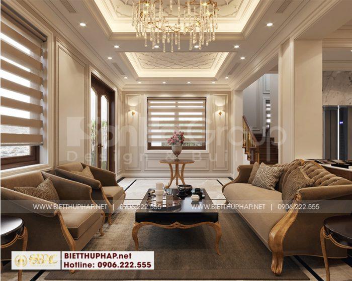 Phương án thiết kế nội thất phòng khách tân cổ điển của biệt thự 4 tầng