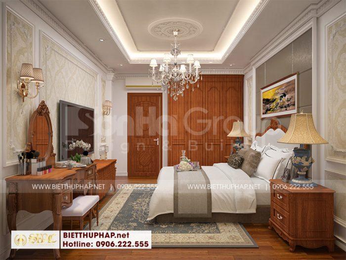 Xuyên suốt không gian phòng ngủ biệt thự là nội thất nhẹ nhàng ấn tượng