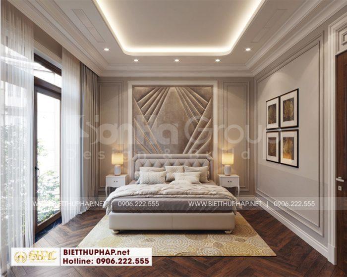Dù có thay đổi màu sắc nhưng phòng ngủ vẫn bố trí theo phong cách tân cổ điển
