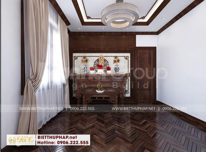 Thiết kế nội thất phòng thờ rộng lớn với đồ nội thất gỗ tự nhiên