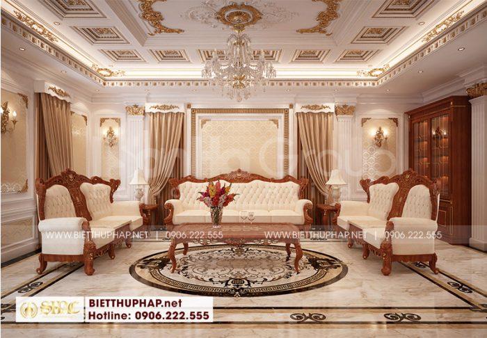 Phương án thiết kế nội thất phòng sinh hoạt chung sang trọng phong cách tân cổ điển đẹp