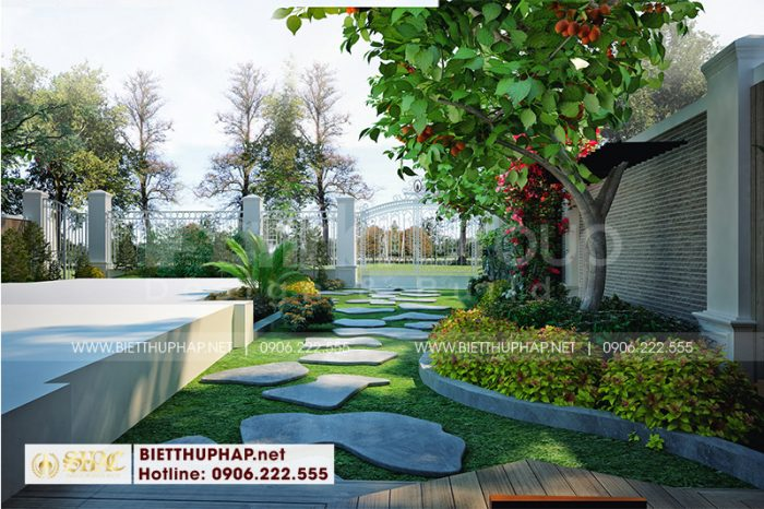 Chiêm ngưỡng tiểu cảnh sân vườn thiết kế nhỏ xinh của biệt thự 4 tầng cao cấp tại Quảng Ninh