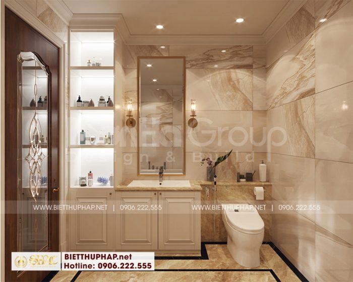 Cách bố trí nội thất phòng tắm, vệ sinh khép kín đơn giản, tiện nghi trong căn phòng ngủ biệt thự