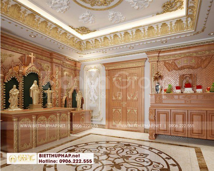 Mẫu nội thất phòng thờ biệt thự tân cổ điển châu Âu với vật liệu gỗ tự nhiên