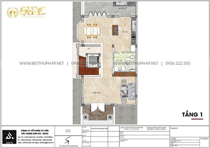Phương án bố trí công năng tầng 1 biệt thự tân cổ điển 105,47m2/ sàn tại Quảng Ninh