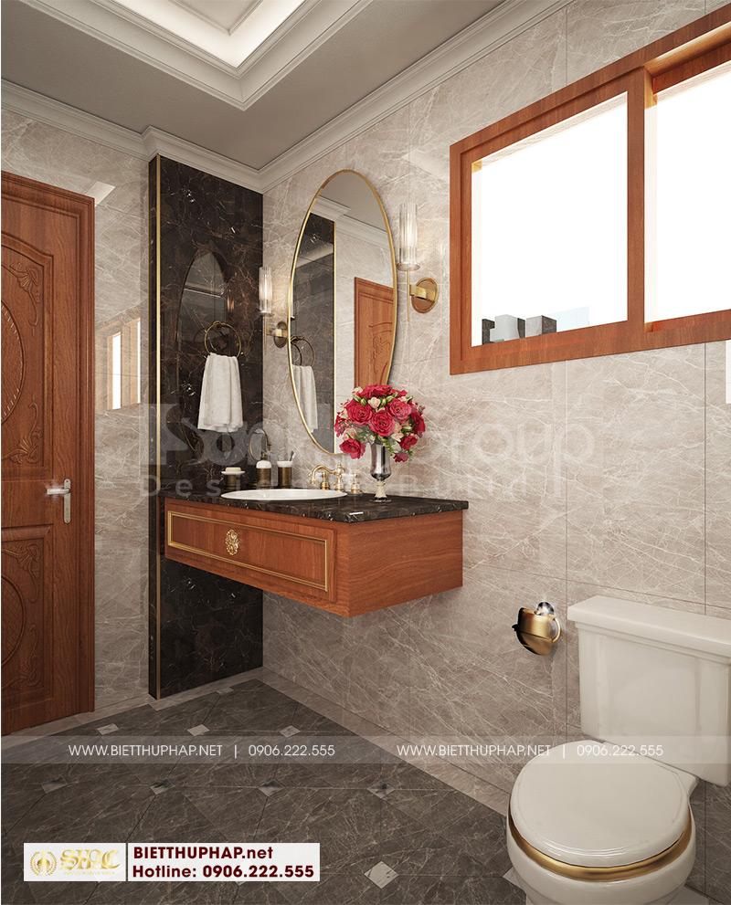 Phòng tắm và vệ sinh được thiết kế sang trọng với vật liệu cao cấp