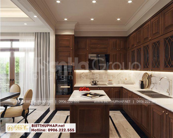 Phòng ăn thiết kế ấm cúng phong cách tân cổ điển với nội thất gỗ tự nhiên