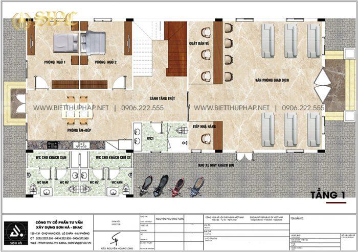 Phương án bố trí công năng tầng 1 biệt thự tân cổ điển diện tích 240m2 (12m x 20m) tại An Giang