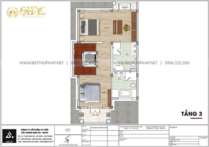 Phương án bố trí công năng tầng 3 biệt thự tân cổ điển 105,47m2/ sàn tại Quảng Ninh