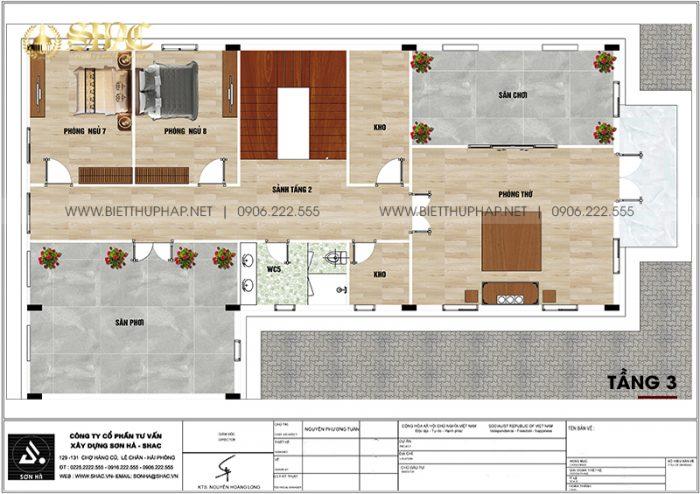Phương án bố trí công năng tầng 3 biệt thự tân cổ điển diện tích 240m2 (12m x 20m) tại An Giang