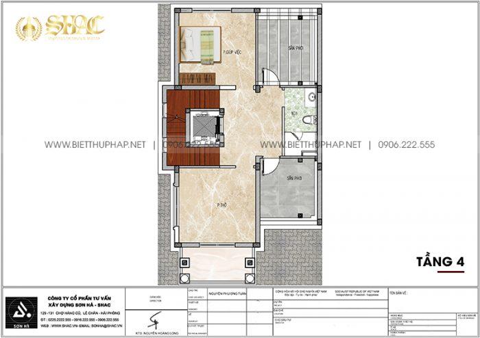 Phương án bố trí công năng tầng 4 biệt thự tân cổ điển 105,47m2/ sàn tại Quảng Ninh