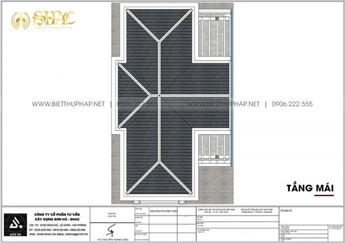 Phương án bố trí công năng tầng mái biệt thự tân cổ điển 105,47m2/ sàn tại Quảng Ninh