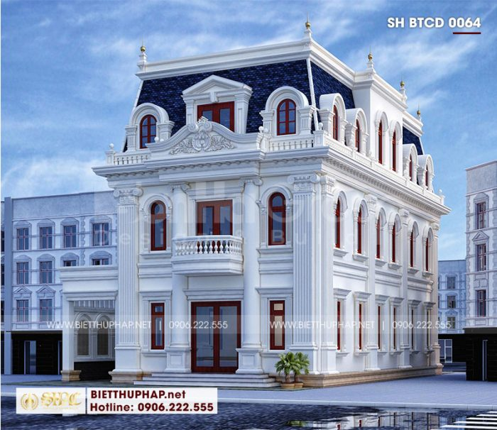 Phối cảnh kiến trúc mặt bên ngôi biệt thự được thiết kế mang phong cách tân cổ điển chủ đạo