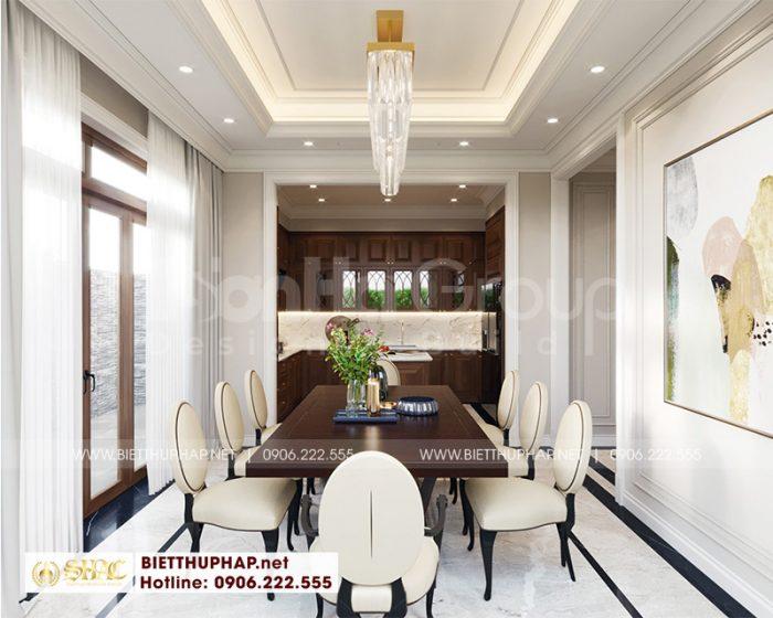 Trang trí nội thất phòng bếp ăn biệt thự tân cổ điển đẹp tại Quảng Ninh