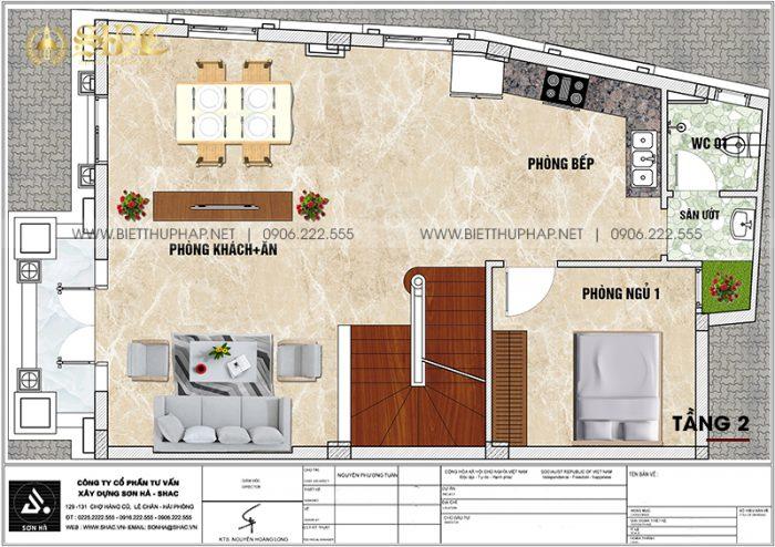Bản vẽ công năng tầng 2 biệt thự lâu đài Pháp mặt tiền 7m6 dài 11m6 tại Hưng Yên