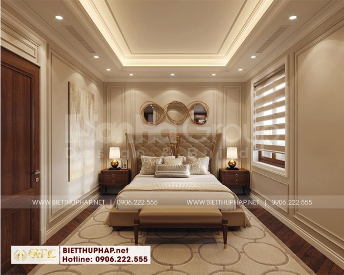 Mẫu thiết kế phòng ngủ kiểu tân cổ điển Pháp với màu sắc giản dị nhưng hết sức tinh tế và sang trọng