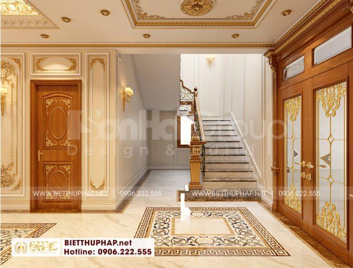 Trang trí nội thất sảnh thang biệt thự mang đậm hơi hướng tân cổ điển