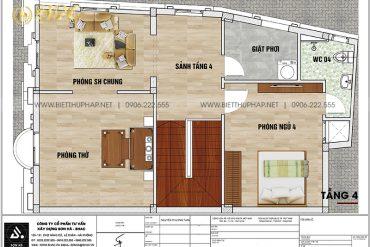 6 Bản vẽ tầng 4 biệt thự lâu đài mini 4 tầng tại hưng yên sh btld 0043