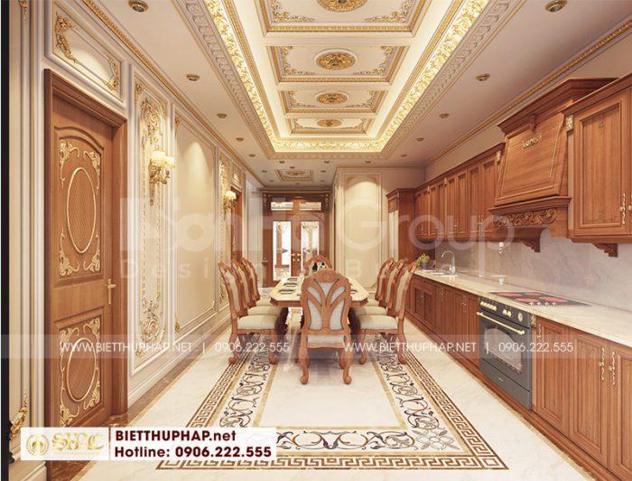 Thiết kế bếp ăn phong cách tân cổ điển với đồ nội thất gỗ cao cấp