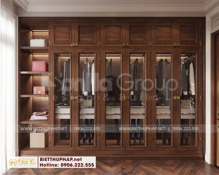 Nội thất khu thay đồ thiết kế đẹp trong căn phòng ngủ biệt thự tân cổ điển tại Quảng Ninh
