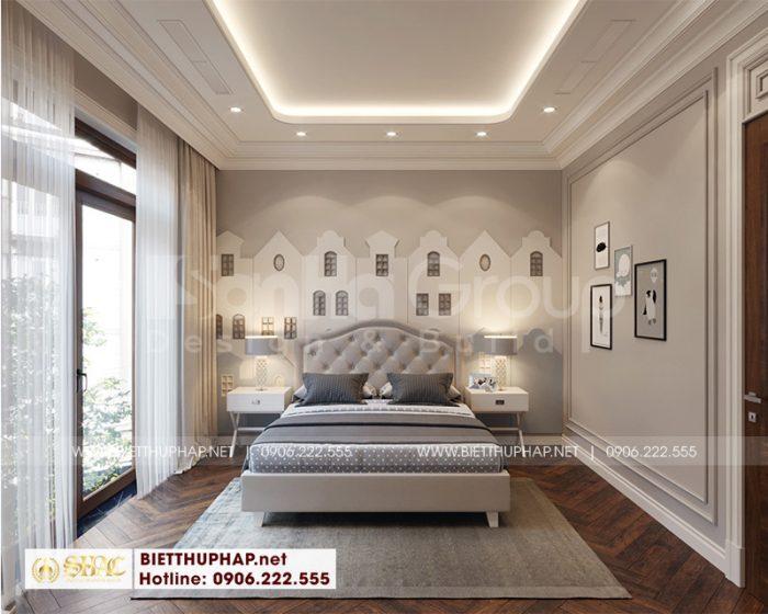 Thiết kế nội thất phòng ngủ sang trọng với sơn màu trấm ấm tinh tế