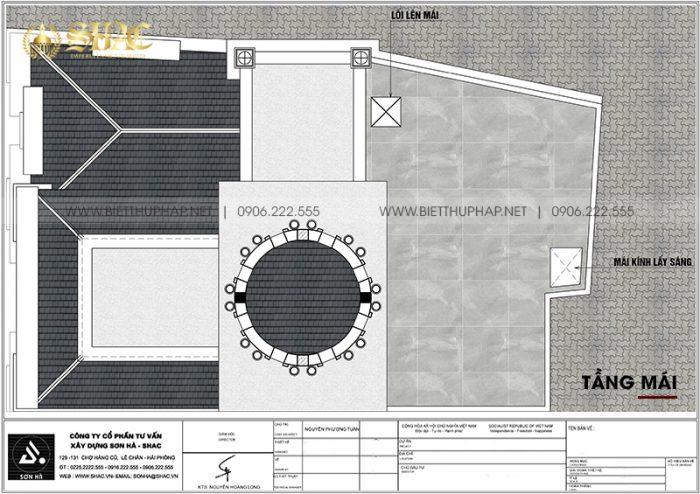 Bản vẽ công năng tầng mái biệt thự lâu đài Pháp mặt tiền 7m6 dài 11m6 tại Hưng Yên