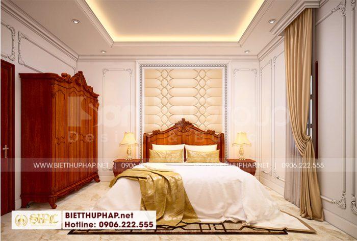 Phòng ngủ tân cổ điển với bố trí gờ và phào chỉ nhẹ nhàng tôn nét thanh nhã