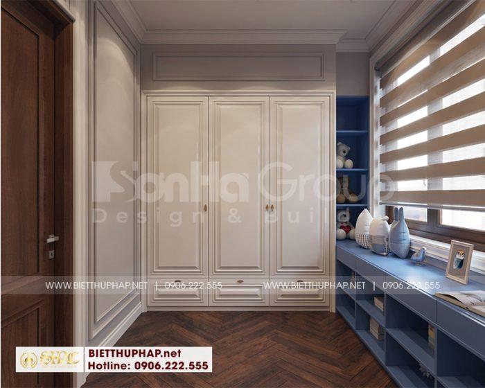 Khu vực thay đồ trang bị nội thất đẹp trong phạm vi phòng ngủ biệt thự tân cổ điển