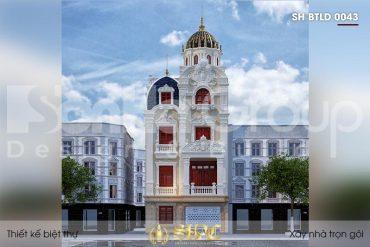 BÌA thiết kế biệt thự lâu đài mini 4 tầng mặt tiền 7,6m tại hưng yên sh btld 0043