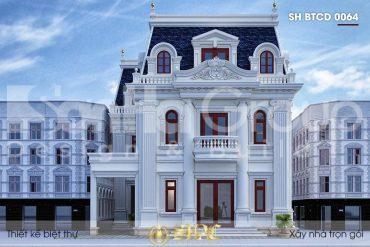 BÌA thiết kế biệt thự tân cổ điển 3 tầng mặt tiền 12m tại an giang sh btcd 0064