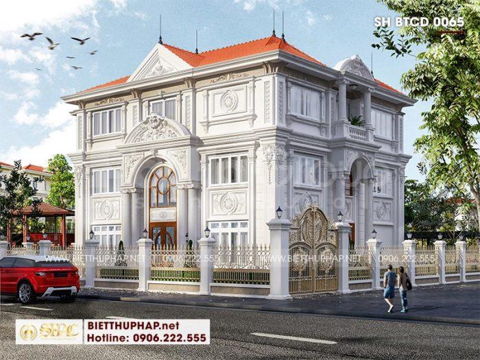 Mẫu biệt thự đẹp phong cách tân cổ điển châu Âu 3 tầng 2 mặt tiền tại Hà Nội