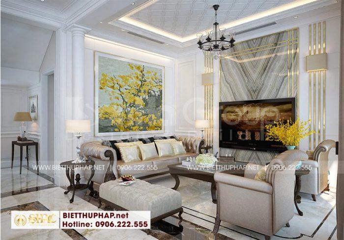 Không gian phòng khách tân cổ điển sử dụng nội thất cao cấp, màu sắc trang trí hài hòa