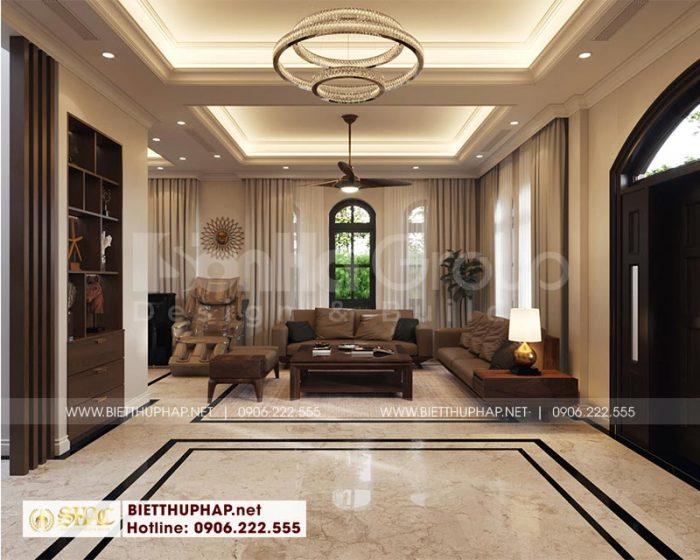 Thiết kế nội thất phòng khách đẹp dành cho biệt thự phong cách tân cổ điển 3 tầng