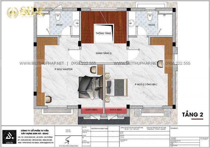 Chi tiết công năng tầng 2 biệt thự song lập phong cách tân cổ điển tại Vinhomes Imperia Hải Phòng