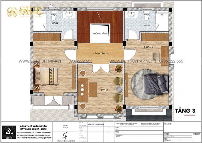 Chi tiết công năng tầng 3 biệt thự song lập phong cách tân cổ điển tại Vinhomes Imperia Hải Phòng