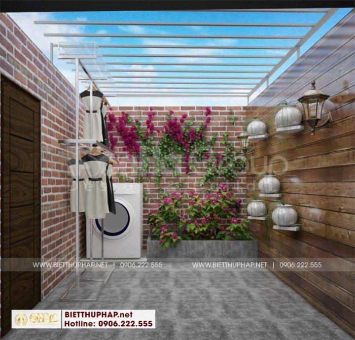 Khu giặt phơi với thiết kế thoáng đãng tại tầng tum ngôi biệt thự tân cổ điển