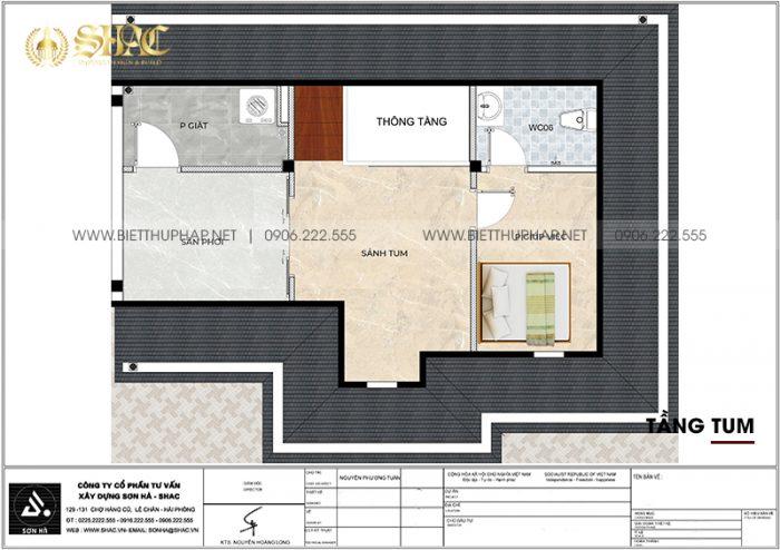 Chi tiết công năng tầng tum biệt thự song lập phong cách tân cổ điển tại Vinhomes Imperia Hải Phòng