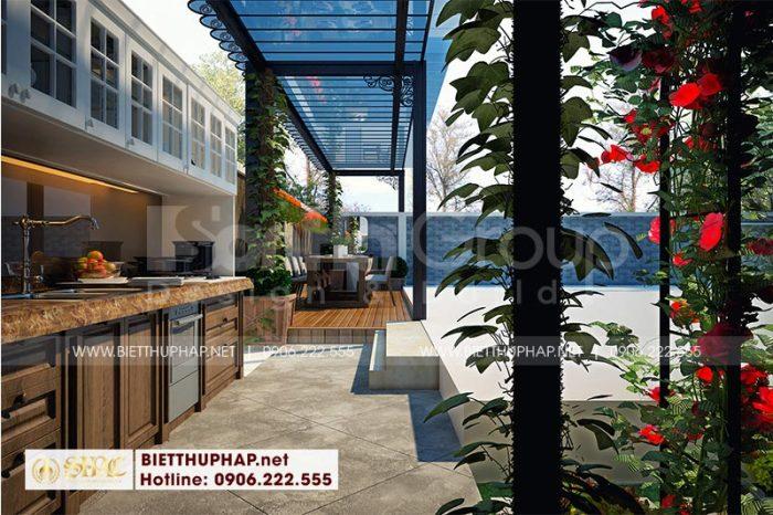 Tiểu cảnh sân vườn kết hợp bếp ăn ngoài trời mang đến không gian thư thái cho cả gia đình