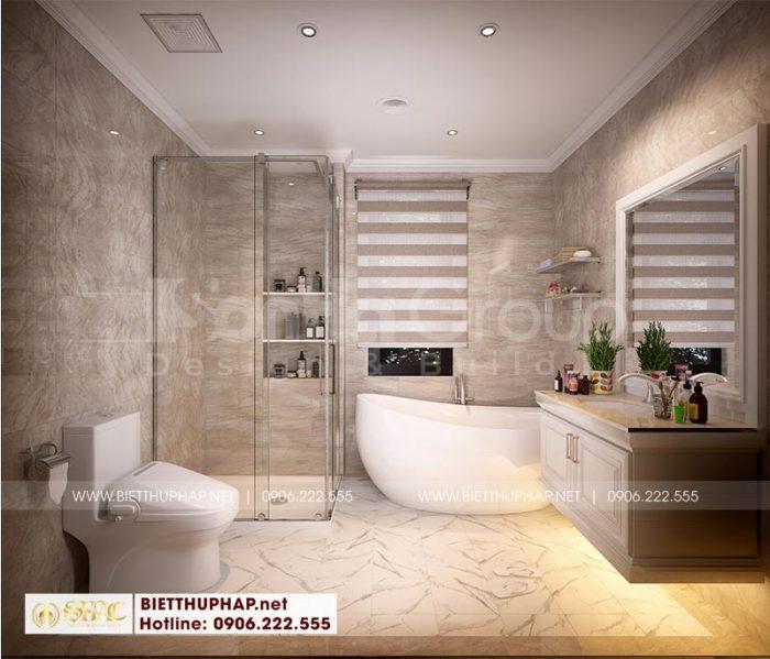 Thiết kế phòng tắm hiện đại, tiện nghi trong căn phòng ngủ biệt thự