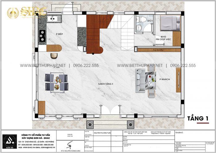 Bản vẽ công năng tầng 1 biệt thự tân cổ điển diện tích 141,6m2 (12m x 11,8m)