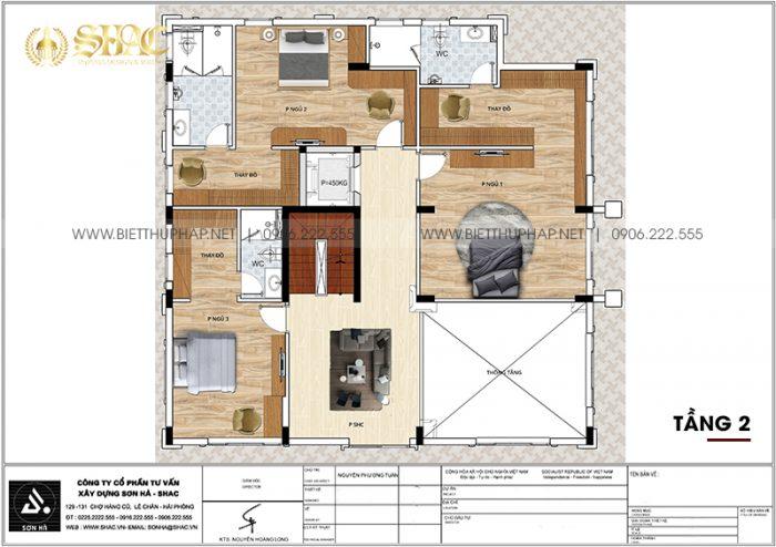 Bản vẽ công năng tầng 2 biệt thự tân cổ điển diện tích 183,04m2 (14,3m x 12,8m) tại Hà Nội