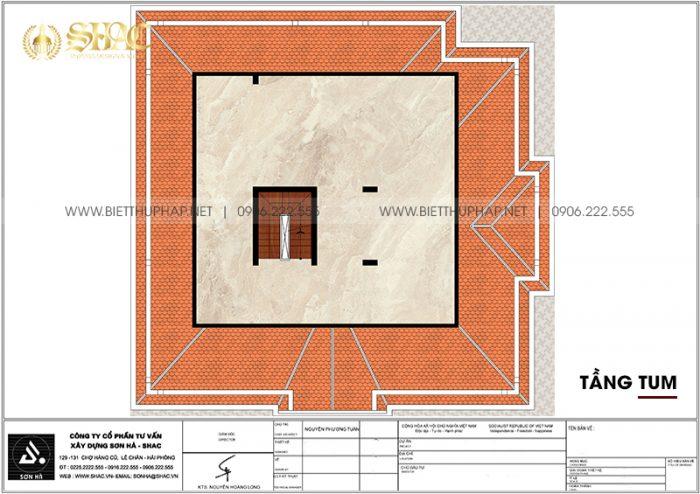 Bản vẽ công năng tầng tum biệt thự tân cổ điển diện tích 183,04m2 (14,3m x 12,8m) tại Hà Nội