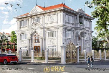 BÌA thiết kế biệt thự 3 tầng 2 mặt tiền kiểu tân cổ điển tại hà nội sh btcd 0065