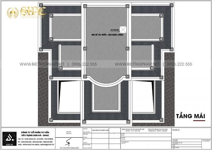 10 Mặt bằng tầng mái biệt thự lâu đài 3 tầng 1 tum tại hà nam sh btld 0044