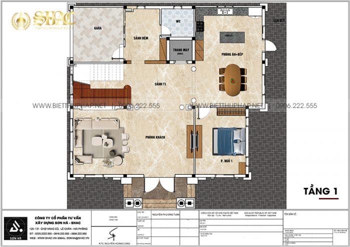 6 Mặt bằng tầng 1 biệt thự lâu đài 3 tầng 1 tum tại hà nam sh btld 0044