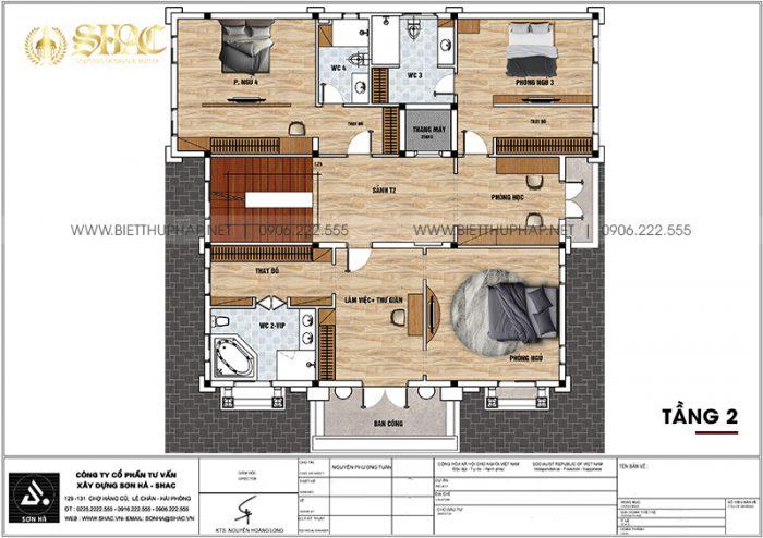 7 Bản vẽ tầng 2 biệt thự lâu đài cổ điển châu âu tại hà nam sh btld 0044