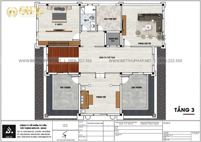 8 Mặt bằng tầng 3 biệt thự lâu đài mặt tiền 14m tại hà nam sh btld 0044