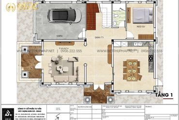 3 Mặt bằng tầng 1 biệt thự tân cổ điển 2 mặt tiền tại hải phòng sh btcd 0067