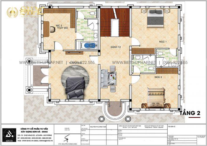 4 Bản vẽ tầng 2 biệt thự tân cổ điển mặt tiền 9,66m tại hải phòng sh btcd 0067
