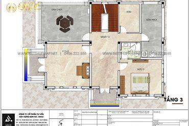5 Mặt bằng tầng 3 biệt thự kiểu tân cổ điển tại hải phòng sh btcd 0067